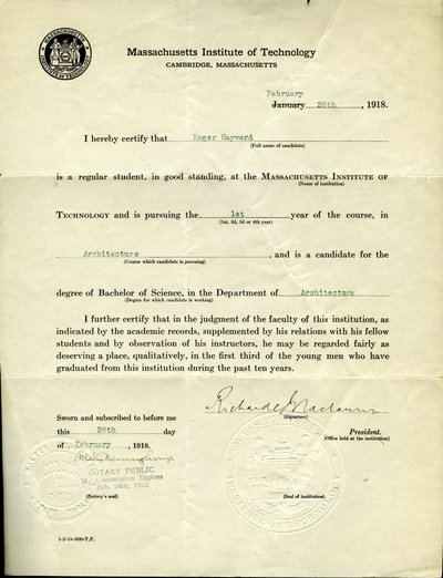 Certification of Roger Hayward as a degree candidate by the President of the Massachusetts Institute of Technology.