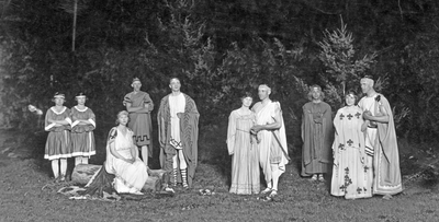 "Actors in an OAC theatrical production of ""A Midsummer Night's Dream"""