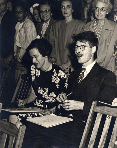 Black and white photograph of Roger Hayward and Pauline Gilferd.