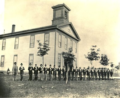 Corvallis College Building and Cadets, 1872