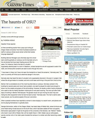 "<em>Gazette Times</em> ""The Haunts of OSU?"" Article, 2002"