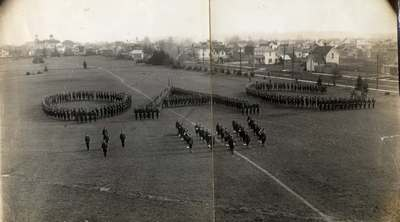 """Cadets Forming """"OAC"""" on Parade Field, ca. 1910"""