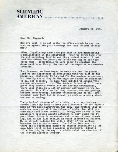 Letter from Dennis Flanagan to Roger Hayward.