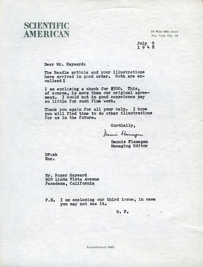 Letter from Dennis Flanagan to Roger Hayward.