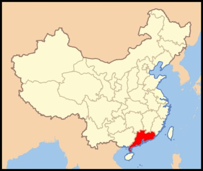 Map of Guangdong Province, China