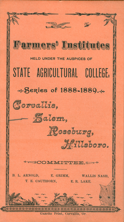 Farmers' Institutes Programme cover