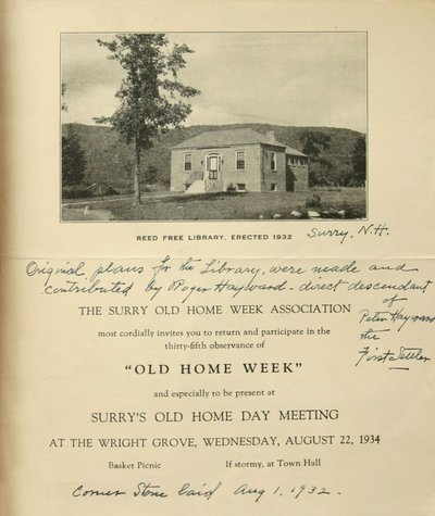 Program for Old Home Week - Reed Free Library.