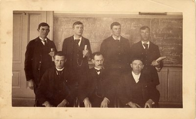 Sepia photograph of John Davidson Letcher with a calculus class.