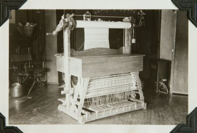 Black and white photographs of a loom designed and built by Roger Hayward.