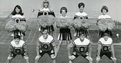 Cheer Squad at Parker Stadium, 1969