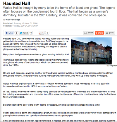"<em>Daily Barometer</em> ""Haunted Hall"" Article"