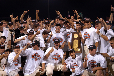 The Beaver baseball team celebrates winning the national championship