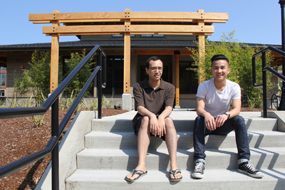 APCC student leadership liasons Mohamed Shaker, left, and An Vuong, at the new Asian and Pacific Cultural Center.