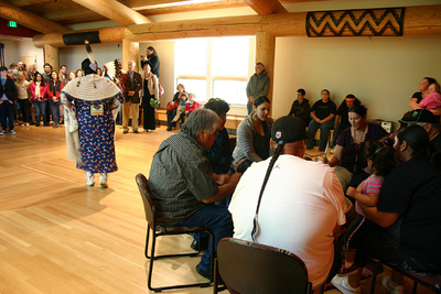 Drum Circle at the Native American Longhouse opening