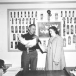 Presenting a prize cockerel