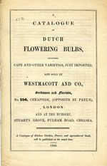 A Catalogue of Dutch Flowering Bulbs. 1846.