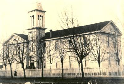 Corvallis College building, ca. 1880. The Corvallis College building was located near the Court House.