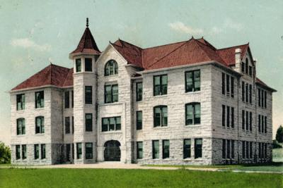 Hand-colored image of Education Hall.