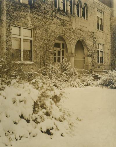 Entrance to Apperson Hall, Winter 1921-1922.