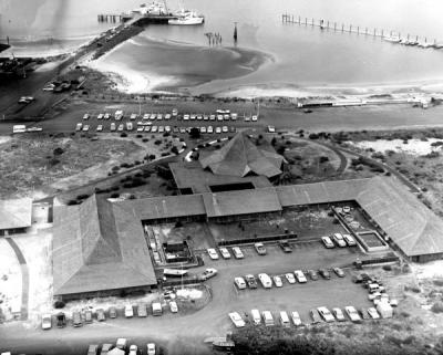 Aerial view of the Hatfield Marine Science Center, Newport, Oregon, ca. 1970s.