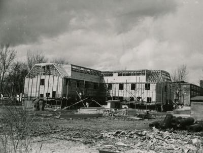 <p>Reed Lodge, 1954. After a costly fire in 1953, Hudson and Central Halls (wartime structures that had been serving as men's dormitories) were razed and replaced by two new structures, Reed and Heckart Lodges. Students</p><p>				managed these cooperative men's dormitories and paid the college a fixed rental fee. Reed Lodge became a women's cooperative in 1976.</p>