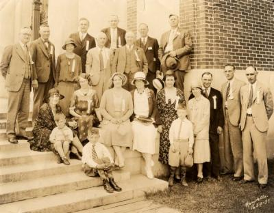 Twenty-five year reunion of the class of 1906. Alta McCormick is seated on the far left. 1931.