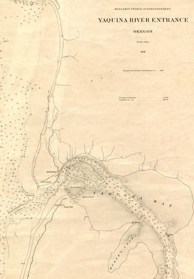Map of the Yaquina River (Oregon) entrance, 1868.