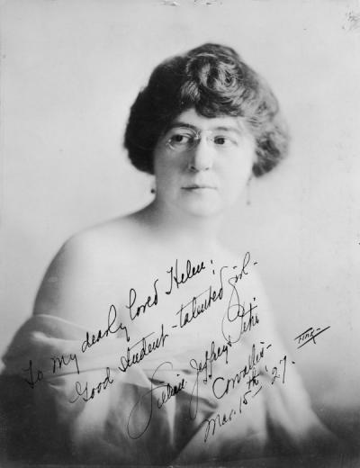 "<p>Portrait of Lillian Jeffreys Petri, March 1927. Petri was a professor of piano and music theory. Photo is annotated: ""To my dearly loved Helen [Plinkiewisch]: Good student - talented girl. Lillian Jeffreys Petri,</p><p>				Corvallis, Mar. 15th '27.""</p>"