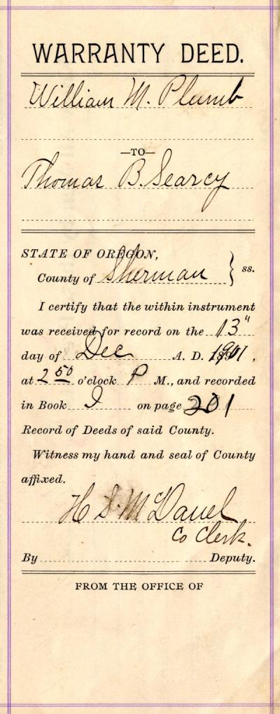 Warranty Deed From William M. Plumb to Thomas B. Searcy, December 13, 1901.