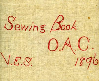 Cover of the Virginia Esther Simmons' sewing book, ca. 1896.