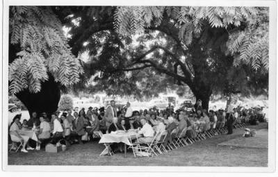 Picnic with Clifford Smith standing in center, 1940.