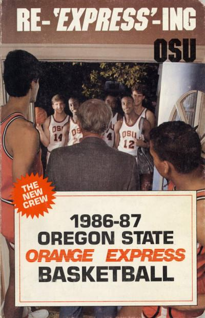 Cover of Oregon State University's Orange Express Basketball Media Guide, 1986.