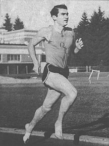 Dale Story, running barefoot, as was his trademark. Ca. 1960s.