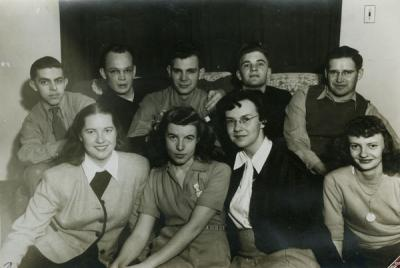 Image from the 1946-1947 Westminster Association yearbook. Shirley Voigts is pictured in the front row, far left.