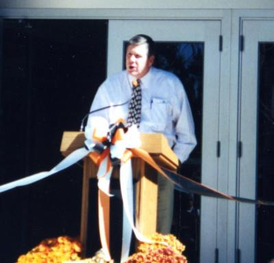 Rep. Ben Westlund speaking at the Cascades Hall dedication, Bend, Oregon, September 22, 2002.