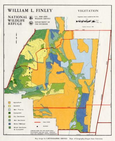 Map of William L. Finley National Wildlife Refuge vegetation, ca. 1980.