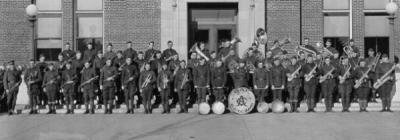 Oregon Agricultural College R.O.T.C. Cadet Band in front of the College Library, ca. 1922. David Marr played cornet in the Orchestra and R.O.T.C. Cadet Band while a student at OAC.