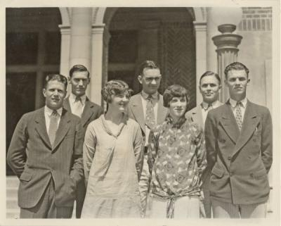 Associated Students officers for 1926-27 who were elected without opposition. From left to right: Richard Bert Fehrens, Pres.; Mark Evans, chairman of the Honor Council; Eugenia Vilm, Greater OSC Comm.; Alva MacMillan, Barometer editor; Margaret Watt, Secretary; Donnell Henderson, Pres. MU; Dallas Ward, 1st Vice Pres.