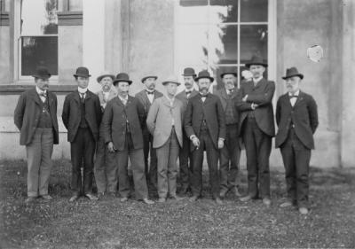 The 1901 Board of Regents. From left to right: W. E. Yates, John D. Olwell, W. P. Keady, B. G. Leedy (Master of Grange), J. K. Weatherford, B. F. Irvine, F. I. Dunbar, John D. Daly, J. M. Church, Governor T. T. Greer, John T. Apperson.