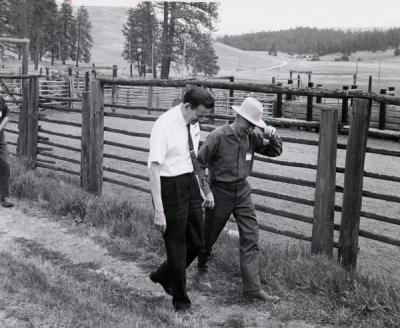 President Robert MacVicar at Larry Wade Ranch in Eastern Oregon, ca. 1970. Photo by Charles A. Boice.
