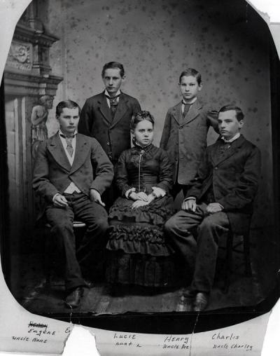 Pernot family photograph, September 1881. Pictured from left are Eugene, Emile, Lucie, Henry and Charles Pernot.