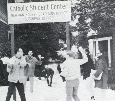 A snowball fight outside the Newman House, OSU, 1969.