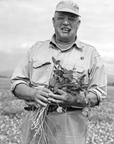 Harry August Schoth, ca 1950s. Schoth received his B.S. in 1914 and M.S. in 1917 from the Oregon Agricultural College. Schoth was a Fellow from 1914-1916, then became an instructor in Farm Crops in 1924. Schoth worked with the U.S. Department of Agriculture from 1917-1961 and received the Gold Medal Award for Distinguished Service to Agriculture in 1962.