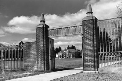 Campus gates and Education Hall, 1961.