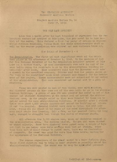 "Cover Page of Project Series Analysis Report No. 14, ""The Tule Lake Incident,"" March 27, 1944."