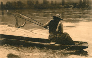 Fishing for eel on the Snake River, 1905.