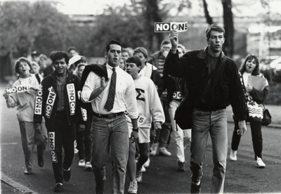 Students marching in opposition to Oregon Ballot Measure 5