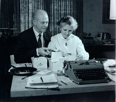 Linus and Ava Helen Pauling Working on the United Nations Bomb Test Petition, 1957