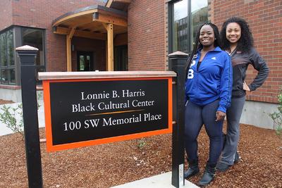 BCC peer facilitators Osenat Quadri, left, and Justeen Quartey at the new Lonnie B. Harris Black Cultural Center