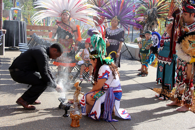 Burning copal at the dedication ceremony for the Centro Cultural Cesar Chavez